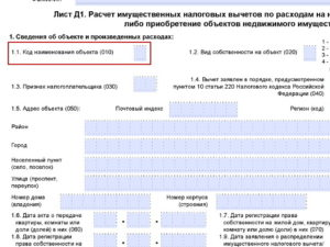 Указание кода наименования объекта в 3-НДФЛ