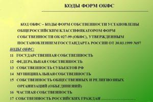Коды форм собственности по ОКФС