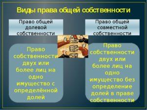 Виды общей собственности на имущество