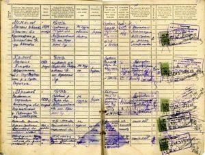 Записи о провписке и выписке граждан в домовой книге