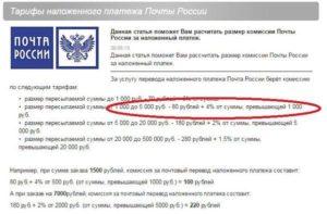 Тарифы наложенного платежа Почты России