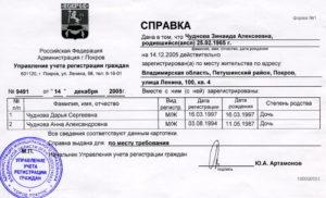 Справка о регистрации по месту жительства по форме №1