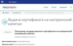 Оформление сертификата на материнский капитал на сайте Госуслуги